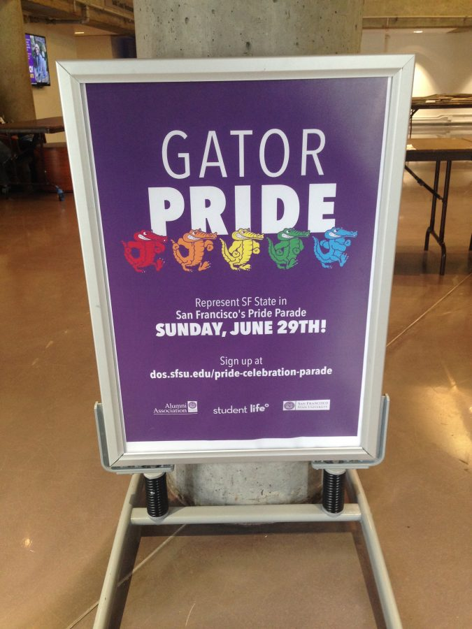 Gator Pride posters like the one shown here can be found around campus, all advertising the coming LGBT Pride march in San Francisco.
