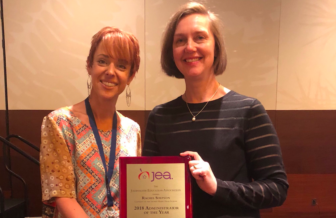 Rachel Simpson, head of Convent of the Sacred Heart High School in San Francisco, accepts JEA's 2018 Administrator of the Year Award. Photo courtesy of Evelyn Lauer